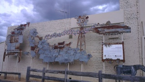 corrugated iron mural