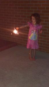 still a little bit frightened of sparklers