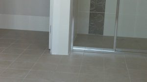 ensuite, shower has been siliconed