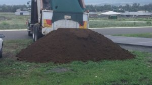 dirt arriving for front yard