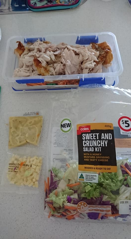 chicken and salad ingredients