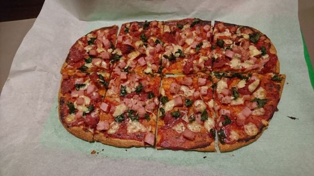Fathead pizza with kale