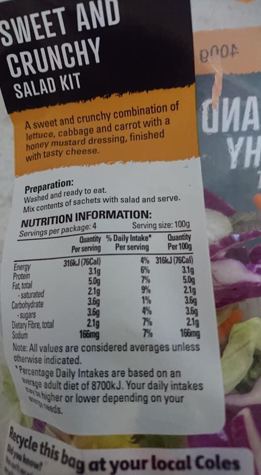 salad nutrition panel